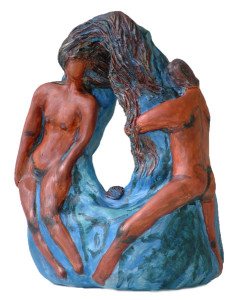 Omhelzing op afstand man en vrouw