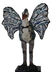 Geluksvogel glas en keramiek beeld vogel Silene van Waveren